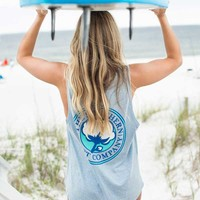 Southern Shirt Company Marled Boyfriend Tank Top in Heather Maui 2T020-36