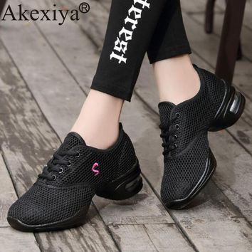 Akexiya New Soft Outsole Breathable Dance Shoes Women Sports Feature Dance Sneakers Jazz Hip Hop Shoes Woman Dancing Shoes
