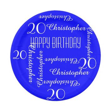 Royal Blue 20th Birthday Party Repeating Names Paper Plate