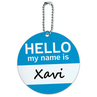 Xavi Hello My Name Is Round ID Card Luggage Tag