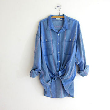 vintage 80s washed out boyfriend shirt. button down shirt. oversized striped shirt.