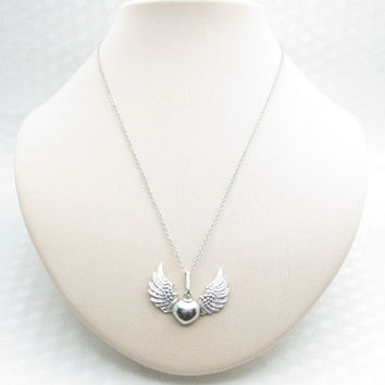 Winged Heart Necklace, Heart with Wings, Flying Heart, Wings Necklace, Silver Winged Heart, Unisex Necklace, Angel Wings Necklace X032