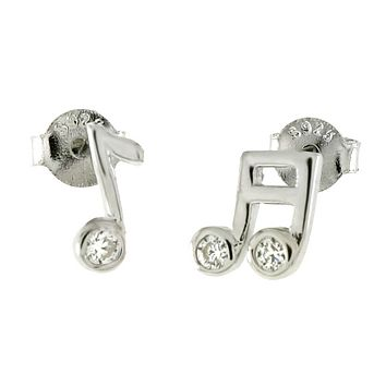 .925 Sterling Silver Musical Notes Mismatched Ladies and Kids Stud Earrings