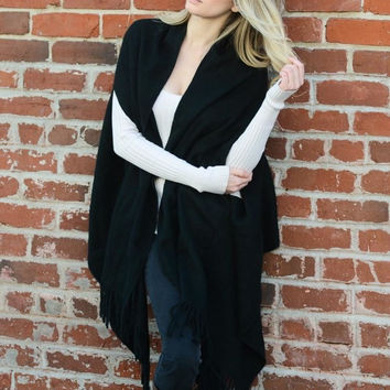 Black Solid Color Shawl with Armholes