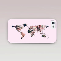 Floral World Map Phone Case For - iPhone 6 Case - iPhone 5 Case - iPhone 4 Case - Samsung S4 Case - iPhone 5C
