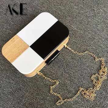 2015 Fashion Design Patchwork Wooden Handbags Black & White Casual Women Ladies Evening Bags Wedding Party Purse Shoulder Bags