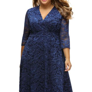 Chicloth Navy Blue Plus Size Surplice Lace Formal Skater Dress