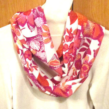 Infinity scarf, circle scarf, cowl scarf  soft pink and white flowers