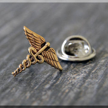 Caduceus Tie Tac, Nursing Lapel Pin, Medical Brooch, nursing badge pin, Gift Under 10 Dollars, Medical Field Tie Tack,Nursing Gift Lapel Pin