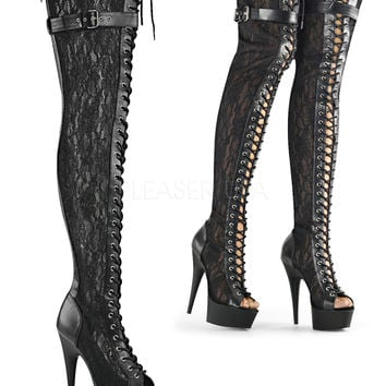 Sexy Peep Toe Lace Up Thigh High Stripper Boots