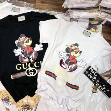 """Gucci"" Women Casual Cartoon Mickey Pattern Letter Print Short Sleeve T-shirt Top Tee"