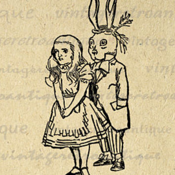 Alice in Wonderland Printable Digital Image Alice Silhouette Graphic Download Antique Clip Art for Transfers Printing etc HQ 300dpi No.4668