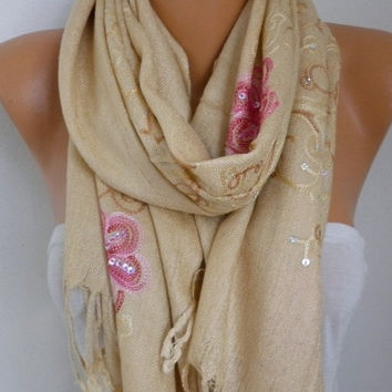 Beige Embroidered Scarf,Fall Winter Shawl, Oversized, Bridesmaid, Bridal Accessories, Gift Ideas For Her, Women Fashion Accesssories