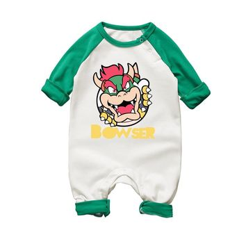 Cartoon Mario Bowser Baby Rompers Long Sleeve Boy Girl Clothing Jumpsuits Children Autumn Winter Clothing Newborn Baby Clothes