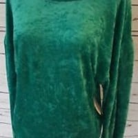 NWT New Free People Womens XS X-Small Crushed Velour Pull over Top Green
