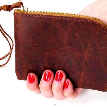 dark Brown leather wallet, distressed brown leather zipper pouch, iphone wallet