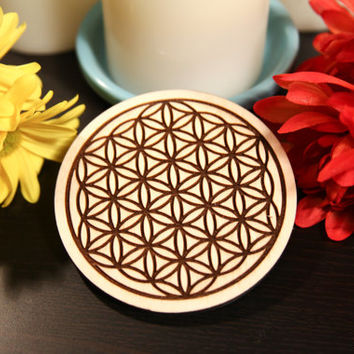 Custom Wood Engraved Flower of Life Print Coasters ~ Set of 4: gift for her, housewarming, wedding, anniversary, mother's day, birthday