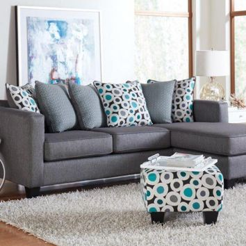 Silver and Teal Chaise Sofa