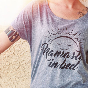Namaste In Bed - Women's Triblend Dolman - Fashion Parody//Yoga Slouchy T-Shirt//Grey Clothing Gym Shirt // Funny Fitness Tee // Workout Tee