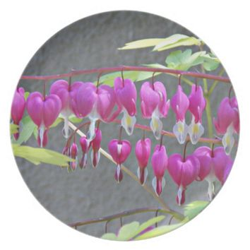 Pink Bleeding Hearts Floral Plate