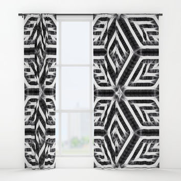 Surreal Diamond Stars Pattern, black and white tiled theme, energetic, electrified geometric design Window Curtains by Casemiro Arts - Peter Reiss