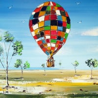 Hot air Balloon Painting  Original acrylic  painting by Borettoart