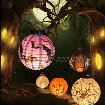 2016 Brand  Halloween LED Paper Pumpkin Light Portable Hanging Lantern DIY Skull Bones Bat Spider For Holiday Party Decoration