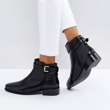 Dune Poppy Leather Buckle Ankle Boots at asos.com