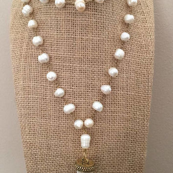 Freshwater Pearl Beaded Chain Gold Bone Horn Necklace BohoChic Beaded Pearls Horn Tusk Antique Gold Cap
