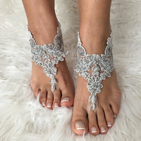 FREE SHIP, ivory grey beads Barefoot sandals , french lace sandals, wedding anklet, Beach wedding barefoot sandals, embroidered sandals.