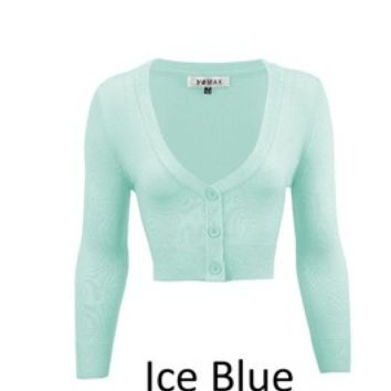MAK V neck Cardigan Sweater Ice Blue