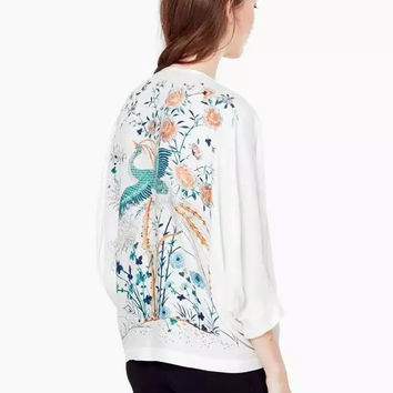 White Floral Bird Back Print Sleeve Shirt