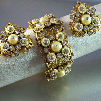 "Vintage SELRO Bracelet Earrings SET Signed, Rhinestone Filigree Faux Pearls, 1 1/4"" Wide Panels, Victorian Revival"