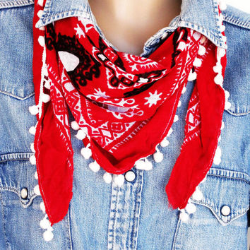 Otantic Traditional Turkish Woven Scarf With Pompoms, Red, Sports, Cotton, Organic