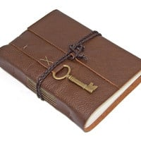 Brown Leather Journal with  Key Charm Bookmark