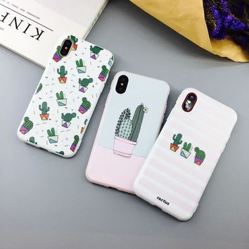 Candy Color Soft TPU Rubber Silicon  iPhone Case - Cactus