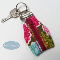 Dahlia and Aster Blossoms Zippered Key Chain, Key Fob, Summer Key Chain | SewAmazin