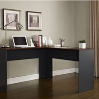 Spacious L-Desk With Under Desk Storage Home Office Furniture Two-Tone Finish