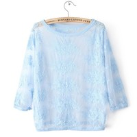 New Cute, Candy-colored Lace Embroidered Sleeves Blouse