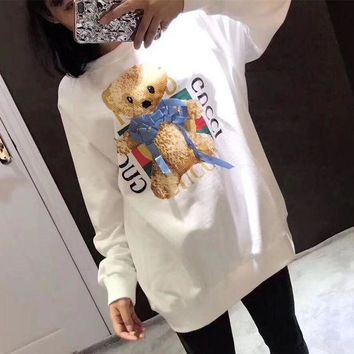DCCKVQ8 Gucci' Women All-match Casual Cute Letter Cartoon Teddy Bear Pattern Print Long Sleeve Sweater Tops