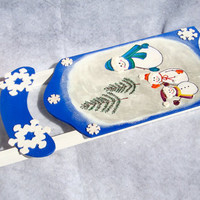 Blue Holiday Sled With Snowmen