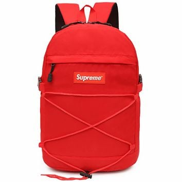 Supreme street fashion brand men and women hip hop casual backpack Red