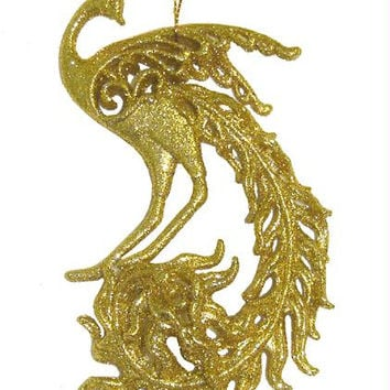Christmas Ornament - Gold Peacock
