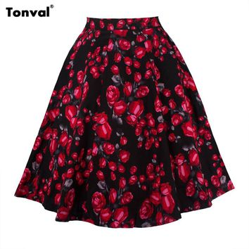 Tonval Summer Women Floral Vintage Skirt Polka Dot Stunning Saias Swing Skirts Femme Flowers High Waist Faldas Skirt