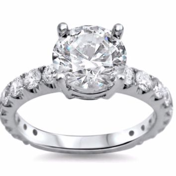 Certified 4.03Ct REAL Enhanced Diamond Engagement Ring with side Stones in 14k White Gold
