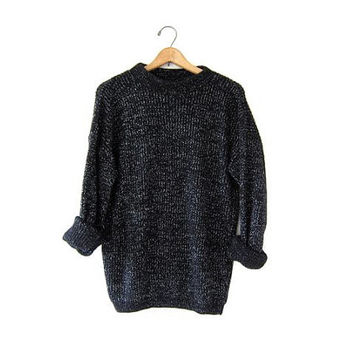 BOYFRIEND pullover black METALLIC vintage sweater. Chunky knit sweater. Loose knit sweater. SLOUCHY speckled silver sweater Womens Fall Mens