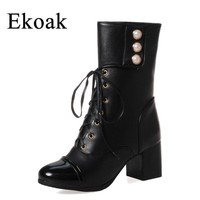 Ekoak Fashion Motorcycle Boots Ladies Lace-Up Mid-Calf