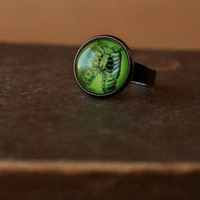 Green zombie rinbs ring by DevilsJewel on Etsy