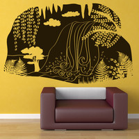 Vinyl Wall Decal Sticker Waterfall Cave View #OS_DC667