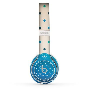 The Tan & Blue Polka Dotted Pattern Skin Set for the Beats by Dre Solo 2 Wireless Headphones